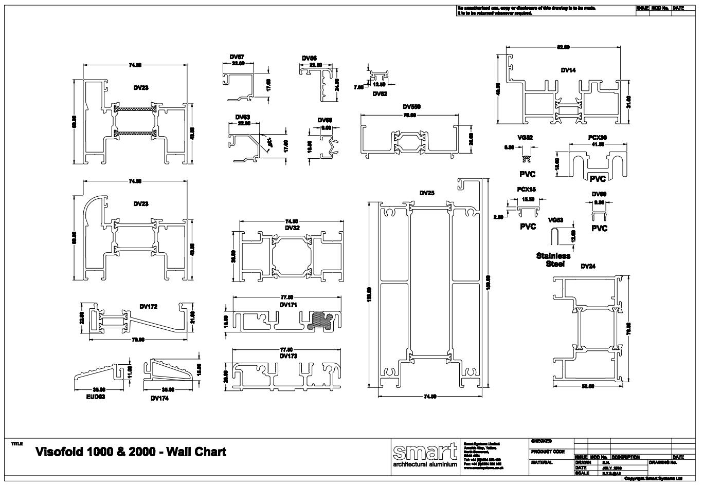 Aluminium bi-fold wall chart image